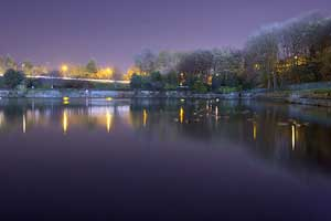 Crookes Valley Park at night on a long exposure