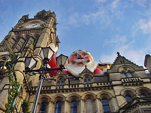 Father Christmas on top of Manchster Town Hall