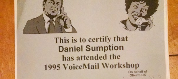 Olivetti VoiceMail Workshop Certificate - Dan Sumption has attended